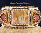 Plume Agate & Rhodochrosite cuff bracelet