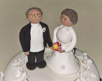 Mature bride and groom cake topper