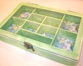 Shabby Green Wooden Jewelry Box