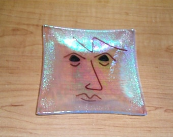 small face fused glass dish