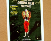 San Diego Latino Film Festival Poster Print - 8.5 x 11 - Original Illustration (Skeleton Bullfighter and bulls in a retro vintage style)