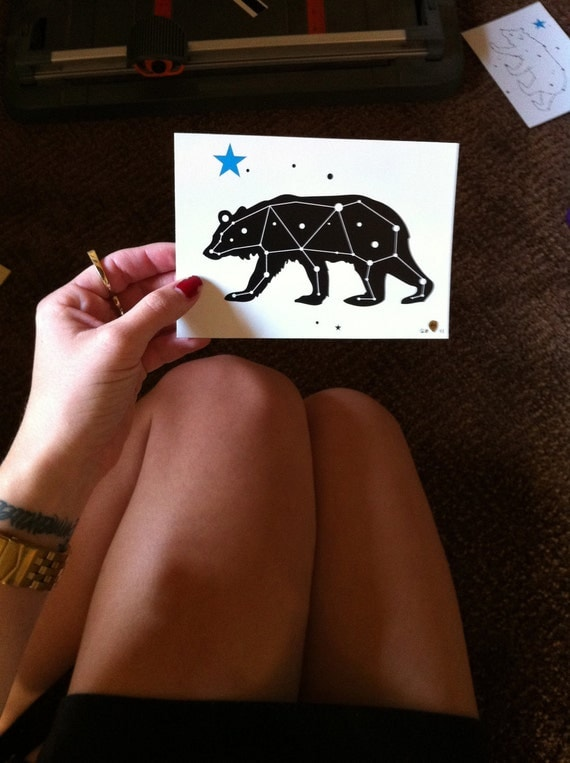 4 Pack of Bear Constellation Mini- Print Post Cards RESERVED for K Heuser