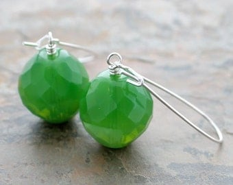 SALE Green Bead Earrings: Czech Glass Whimsical Statement Drops with Sterling Silver Kidney Ear Wires