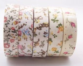 """Printed Floral Rustic Charm Roses Fabric Washi Style Tape for Gift Wrapping, Decoration, Scrapbooking- 1/2"""" width"""