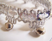 Silver transparent sequins and bells fringe (1 inch with bells, 1/2 inch without bells) - 1 yard