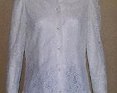Nieman Marcus Romantic Lace Long Sleeve Blouse- sz small/medium
