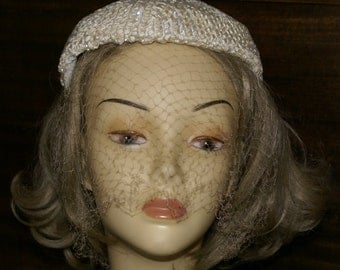 Classy Beige Hat With Bird Cage Veil