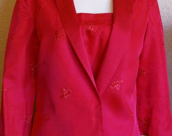 1960's Fuschia Satin Brocade Sheath Dress and Jacket