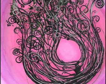 "Supernovae Original Art PRINT ""Tree Series 6"" 11x14"" FREE Shipping Watercolor Ink Painting Pink Nature"