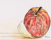 Red Apple Original Painting - Tiny  - SFA, Miniature Painting - ACEO - Hand Drawn and painted - Fantastic Teacher Thankyou Gift