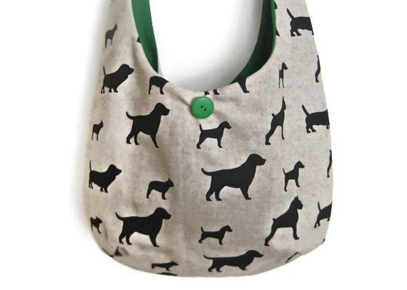 "Sling Purse dog hobo bag puppy linen green slouch shoulder market designer tote ""Pedigree"" READY TO SHIP"