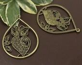 Owls Pendant Charm 6 pieces Antique Bronze  (LY73)