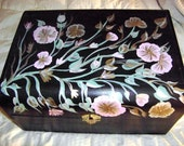 Handpainted Floral Design Wooden Large Treasure Chest / Keepsake Chest / Black Home Decor