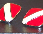 Vintage AVON Red and Creamy White Goldtone Square Earrings