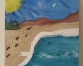 "Handpainted Canvas Beach Scene or My Version of ""Footprints"""