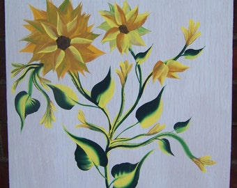 Original Painting of Sunflowers on White-Washed Wooden Board Cheerful Spring/Summer