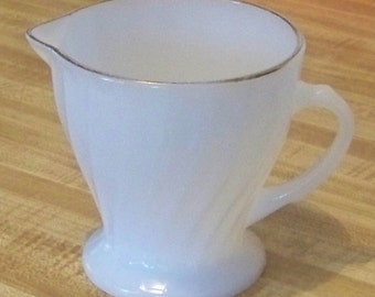 Vintage White Glass Creamer with a Swirl Pattern made by Anchor Hocking