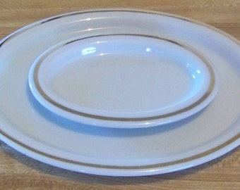 Vintage Set of Two White and Gold Oval Trinket Plates / Dishes