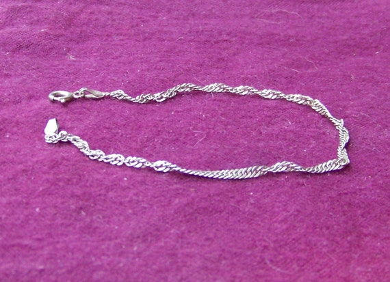 "Vintage Sterling Silver Singapore Style 7"" Bracelet"