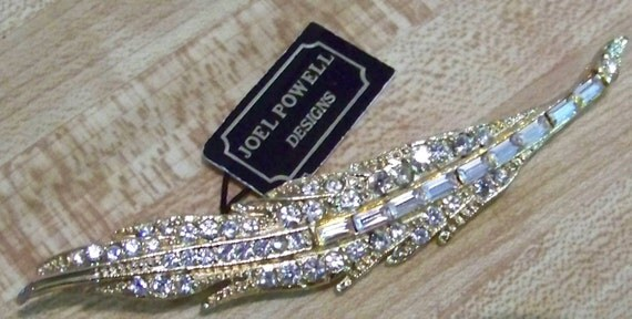 Vintage Joel Powell Goldtone and Rhinestone Leaf Design Brooch