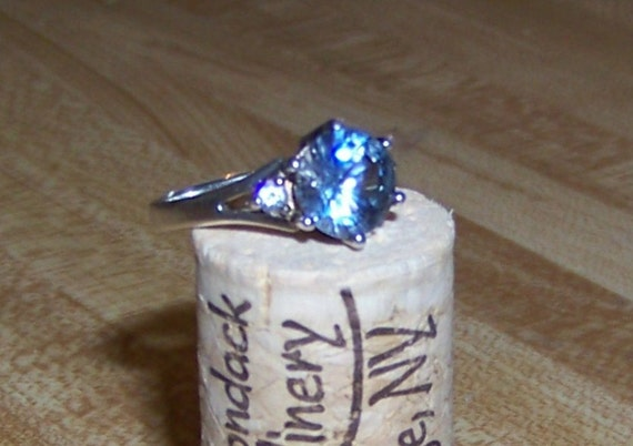 Vintage Sterling Silver and Round Facet Cut Simulated Blue Diamond CZ Solitaire Ring Engagement Style Sparkly Christmas Gift