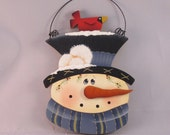 Snowman with red bird ornament, hand painted by KC Crafts4U