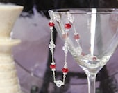 Red Velvet & Clear Crystal With Silver Wire Wrapped Necklace