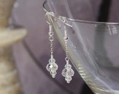 Clear Crystal With Silver Wire Wrapped Earrings