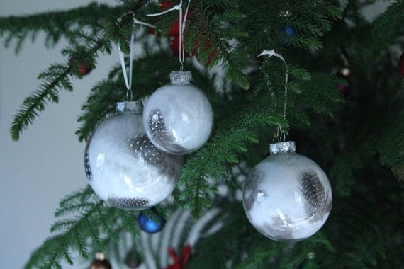 Black white feather glass christmas ornaments set of by for Christmas ornaments clearance