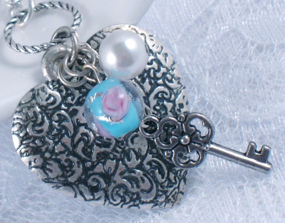 SALE - Silver Vintage Style Heart Necklace with Aqua Floral Bead - Silver Key Charm - Love - Valentines Day - Gifts Under 15