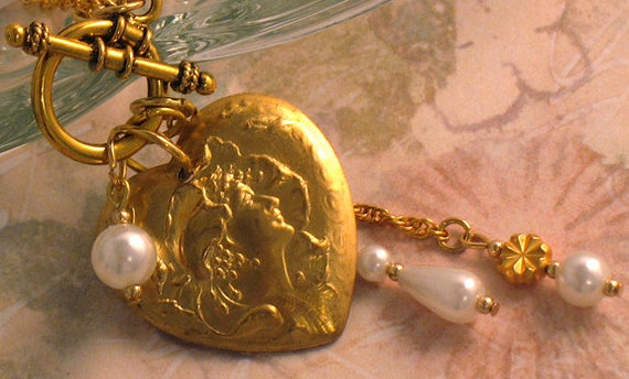 SALE - Gold Heart Front Toggle Necklace, Vintage Style, Victorian Woman, Pearls, Romantic, Autumn, Fall