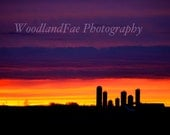 Sunset Behind the Farm II -Fine Art Photography- Orange, Pink, Purple, Sky, Rural, Country- Home, Office Decor- 8x10