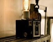 Steampunk camera desk light.