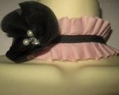 Steampunk jewelry ruffle choker detachable collar with black flower corsage