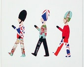 SOLDIERS CANVAS LONDON Applique wall picture, bedroom decoration, wall plaque. boys wall art. Made using Cath Kidston's London fabric