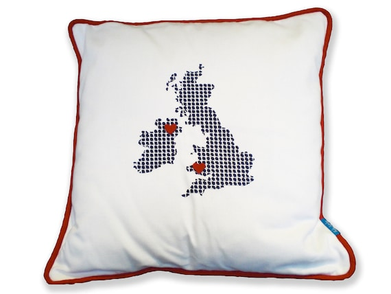 PERSONALISED Ivory 'Long Distance Love' UK & Ireland Cushion