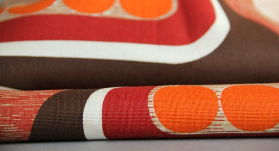Vintage 1970s Retro Patterned Fabric Orange Red Brown