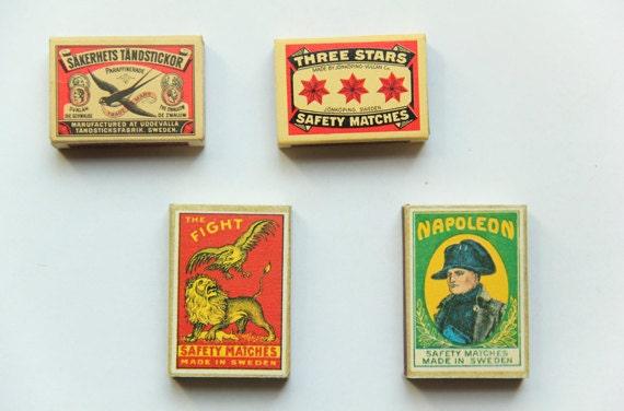 Vintage European Matchboxes Set of 4