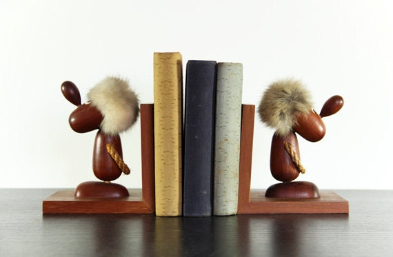 Danish Style Bookends Wood Optimist Pessimist Hans Bolling
