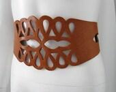Vintage 1970's Boho Hippie Caramel Leather Cut Out Wide Corset Belt 70's
