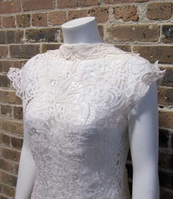 Vintage 1950's 50's Feminine White Lace Blouse Top Sheer L XL
