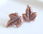 Copper Leaves Earrings ... leaf earrings, post earrings, studs, nature, woodland, fall, autumn, jewellery