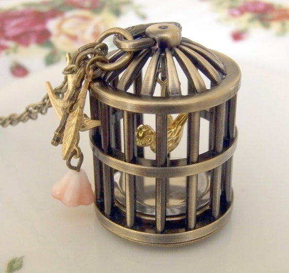 Bird Cage Watch Necklace  ... vintage style birdcage watch necklace, pocket watch, bird cage, mechanism