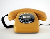Vintage Rotary Telephone. Retro Mod. Mustard Yellow. Made in Germany. 1970s.