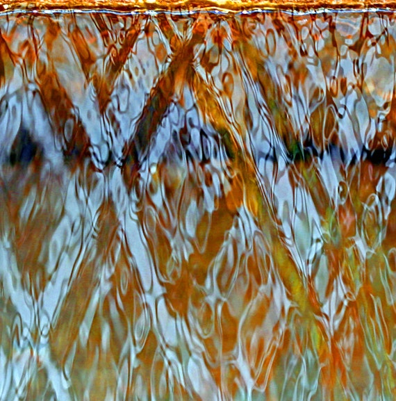 Peaceful, Rippled Falling Water, Patterned, Brown, Aqua, Original Signed Print by Photographer, Guy Pushée