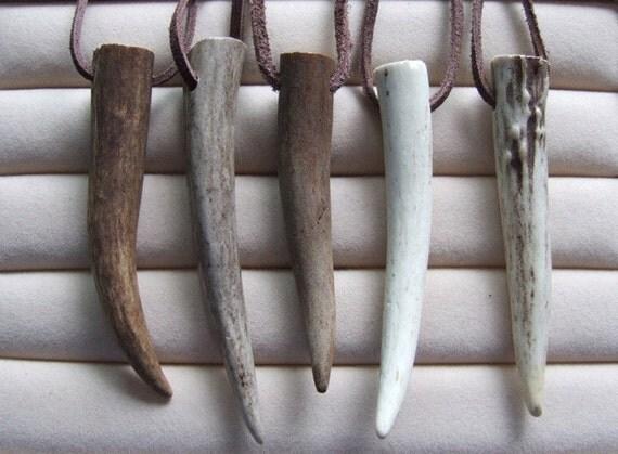 Sale / Large Naturally Shed Deer Antler Tip Necklace