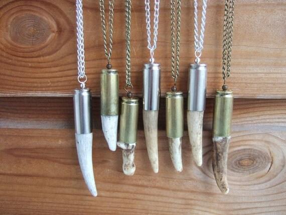 XL Naturally Shed Deer Antler Tip Bullet Necklace