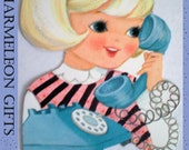 1 X-large repurposed vintage girl on the telephone magnet