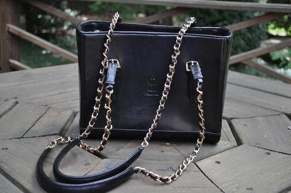 Vintage Black Leather Satchel Purse
