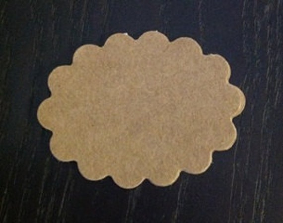 10 scalloped oval kraft adhesive paper sticker labels